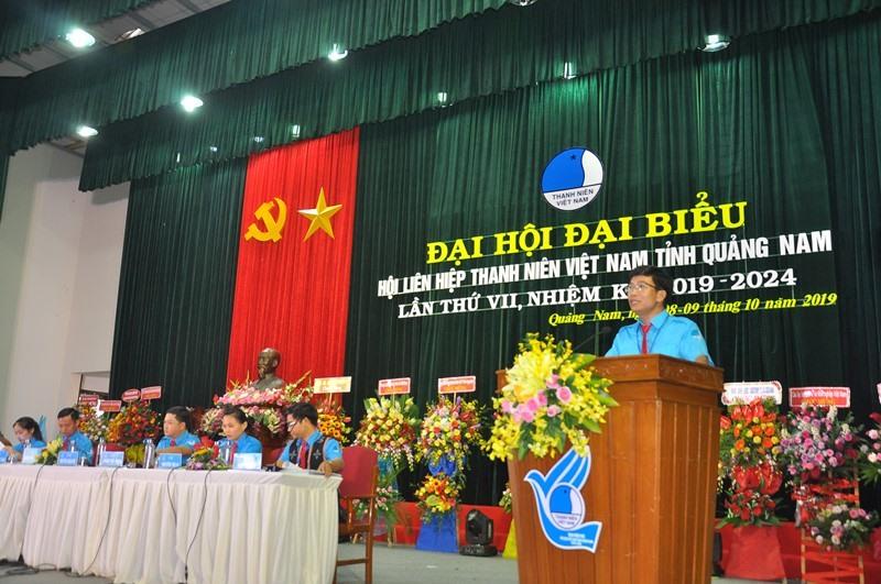 Anh Nguyễn Xuân Đức - Phó Bí thư Tỉnh đoàn, Chủ tịch Hội LHTN Việt Nam tỉnh phát biểu khai mạc đại hội. Ảnh: VINH ANH