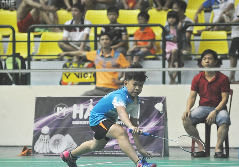 Tay vợt Lê Quang Thành (CLB Điện Phước - Điện Bàn) giành HCV nội dung đơn nam nhóm tuổi dưới 11. Ảnh: T.V