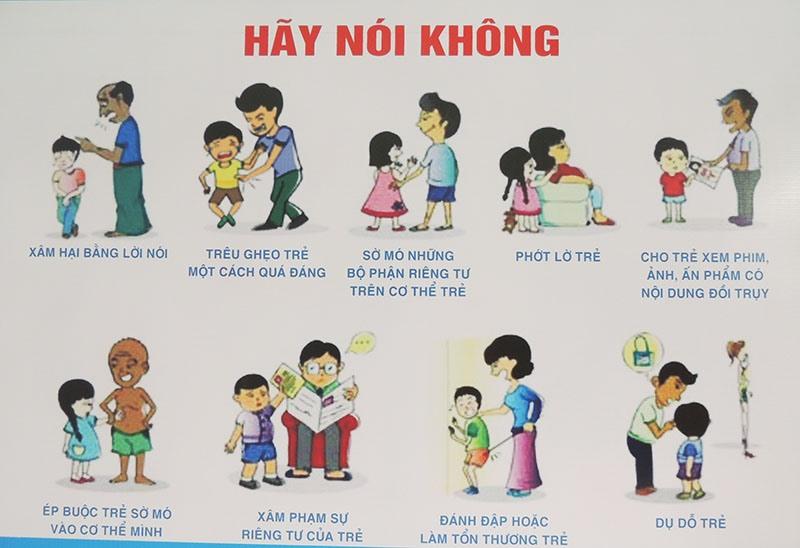 Tuyên truyền các hành vi xâm hại trẻ em thông qua hình ảnh. Ảnh: LAN NHI