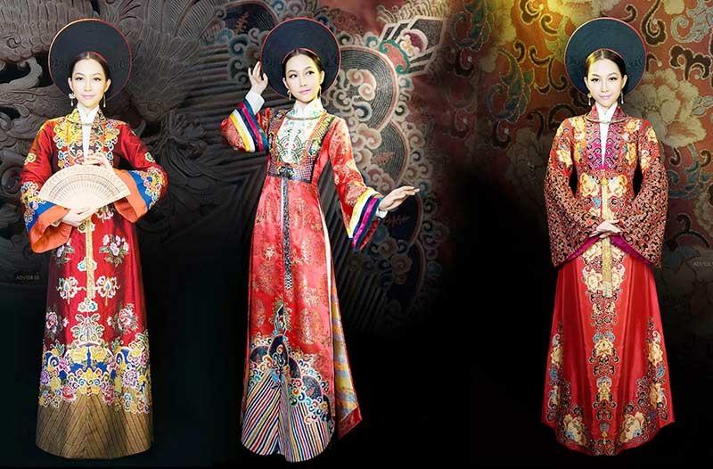 Áo dài vương triều do nhà thiết kế Sĩ Hoàng thực hiện.