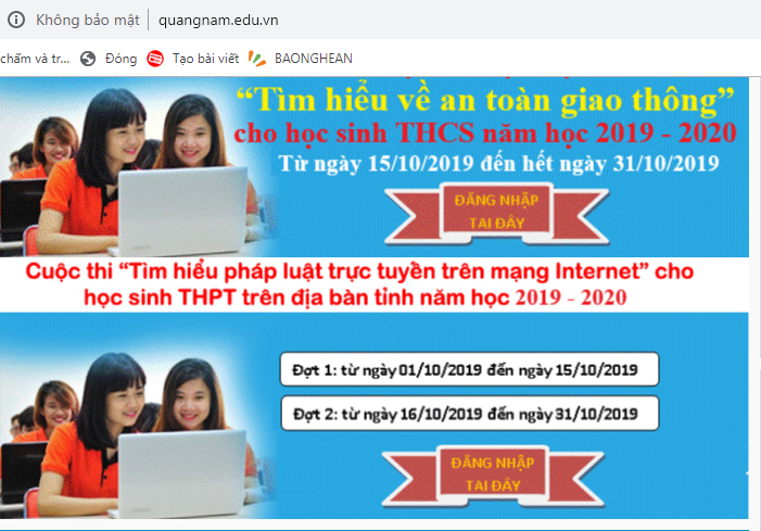 Thông tin về cuộc thi tìm hiểu pháp luật trực tuyến trên website Sở GD-ĐT.