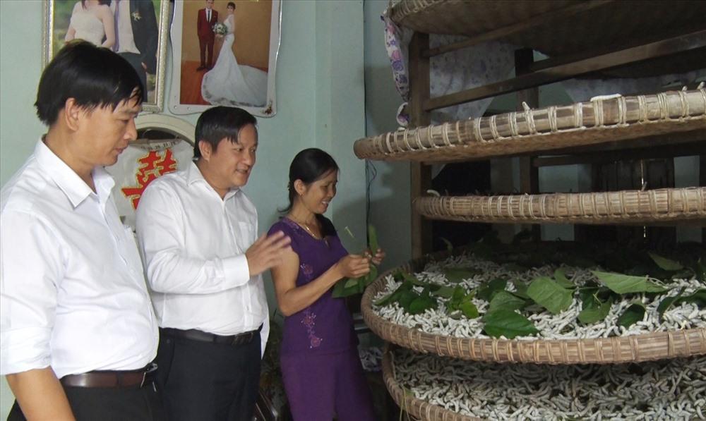 Ông Lê Thái Vũ - Chủ tịch HĐQT Công ty CP Tơ lụa Quảng Nam (giữa) đánh giá cao những nỗ lực gìn giữ nghề trồng dâu nuôi tắm của người dân thôn Đại Bình. Ảnh: THÔNG VINH