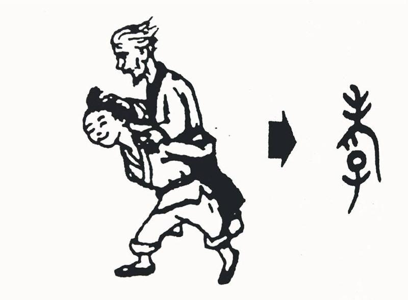 Chữ hiếu trên giáp cốt văn: con cõng cha mẹ.