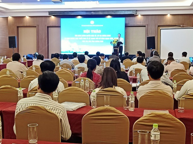 Phó Chủ tịch UBND tỉnh Lê Trí Thanh phát biểu tại hội thảo. Ảnh: H.L