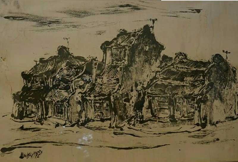 """""""Phố rêu"""" của họa sĩ Duy Ninh."""