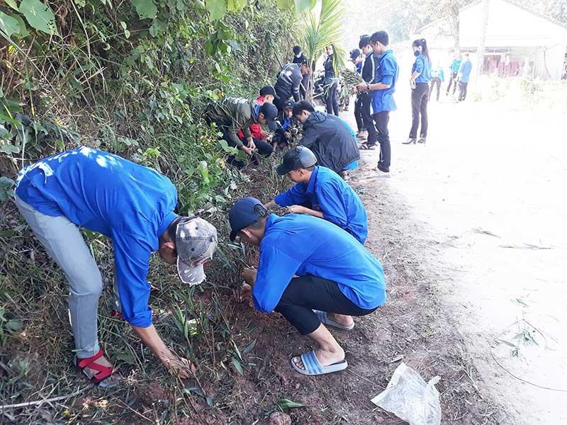 Đoàn viên thanh niên nhiệt tình tham gia các đợt ra quân trồng cây xanh, xây dựng cảnh quan xanh - sạch - đẹp.