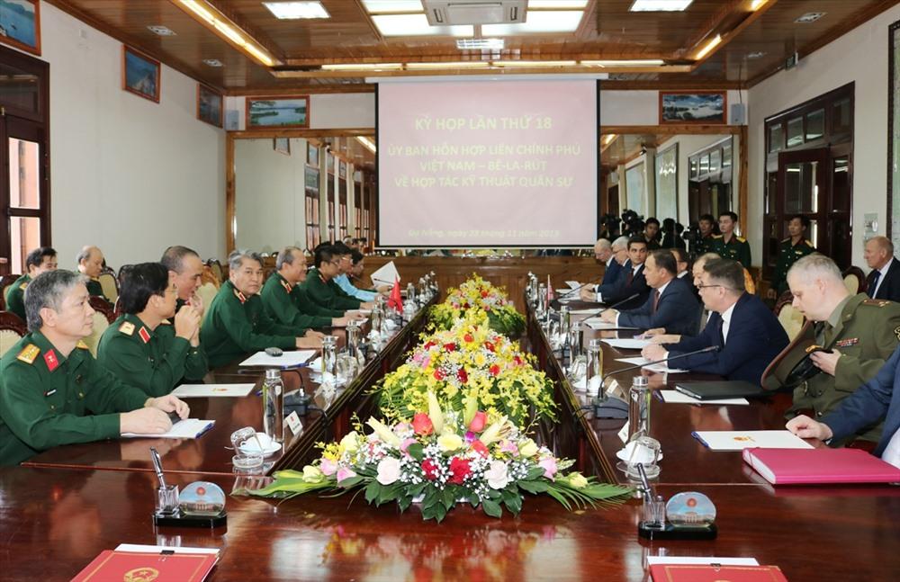 Kỳ họp lần thứ 18 Ủy ban hỗn hợp liên Chính phủ Việt Nam - Belarus về hợp tác kỹ thuật quân sự. Ảnh: AN KHANG