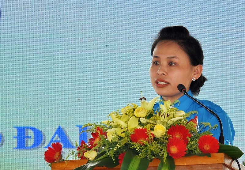 Chị Nguyễn Thị Ly tái cử chức vụ Chủ tịch Hội LHTN Việt Nam TP.Tam Kỳ. Ảnh: V.A