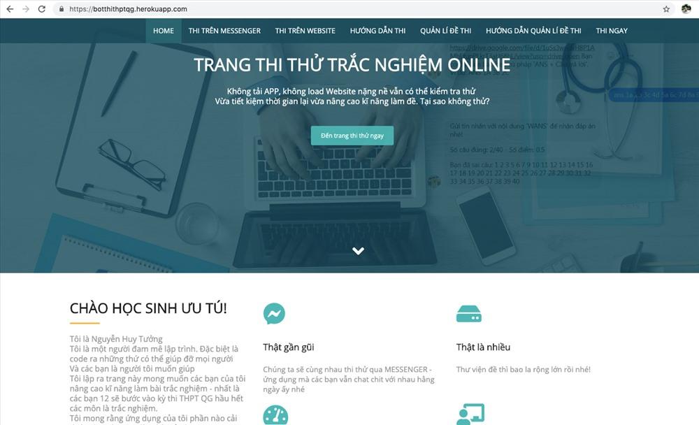 Website thi thử kỳ thi THPT được Tưởng hoàn thành trong 1 tháng. Ảnh: PHAN VINH