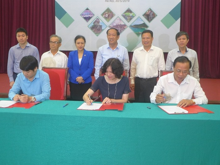 Ms. Vo Song Ha from CCIHP, Mr. Pham Dung MCNV and Mr. Mai Van Muoi from the Quang Nam Department of Health