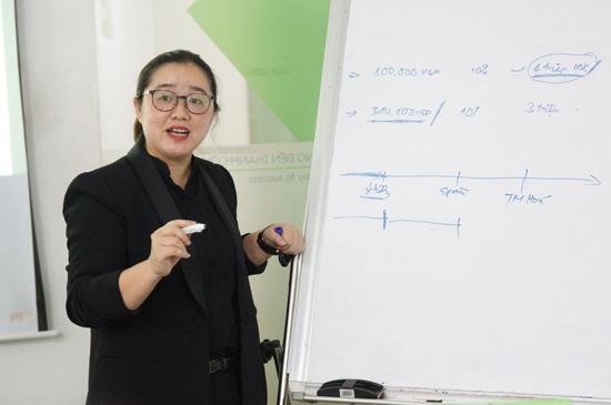 Bà Nguyễn Thị Diệu Hằng - Phó Giám đốc BSSC chia sẻ bài học rút ra từ hệ sinh thái khởi nghiệp TP.Hồ Chí Minh. Ảnh: PHAN VINH