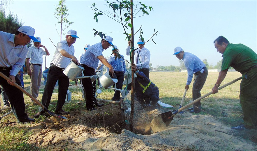Planting trees after the meeting.