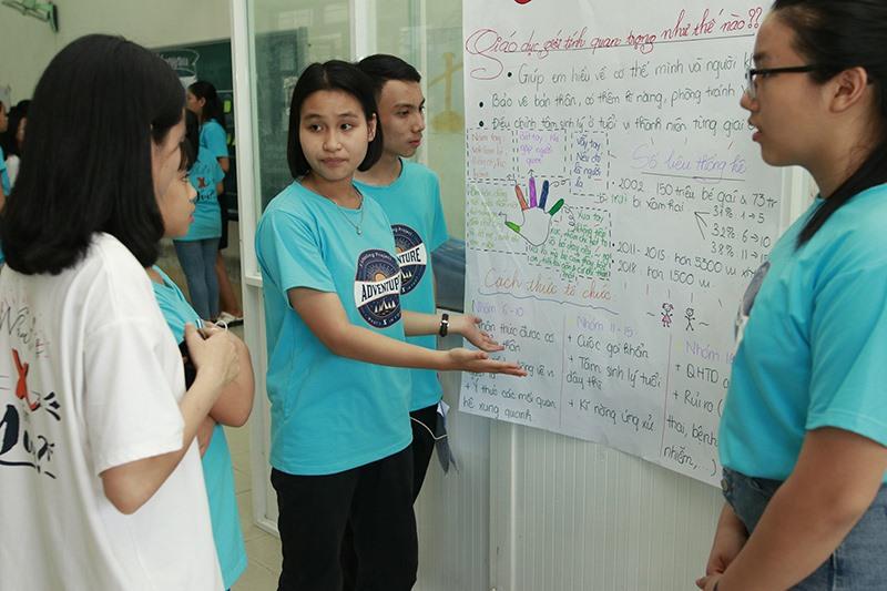 Các em học sinh hào hứng tham gia các hoạt động ở hội trại. Ảnh: K.L