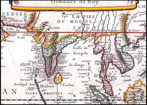 Vietnam's Paracel (Hoàng Sa) on the map of Indes Orientale by Pierre Duval, Paris, French (1677).