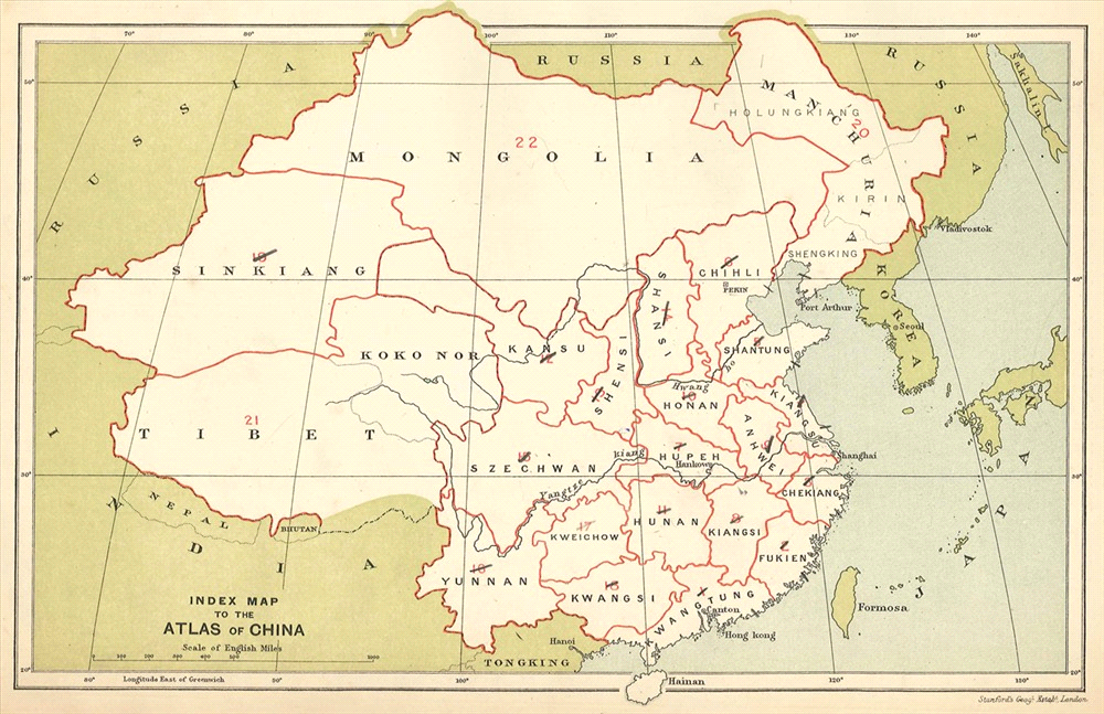 Atlas of the Chinese Empire, 1908 (35cm x 24cm), including 23 maps.