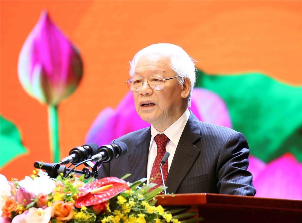Tổng Bí thư, Chủ tịch nước Nguyễn Phú Trọng đọc diễn văn tại buổi lễ. Ảnh: TTXVN