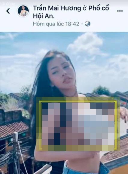 Hình ảnh Trần Mai Hương tạo dáng tại phố cổ Hội An (ảnh cắt từ clip).
