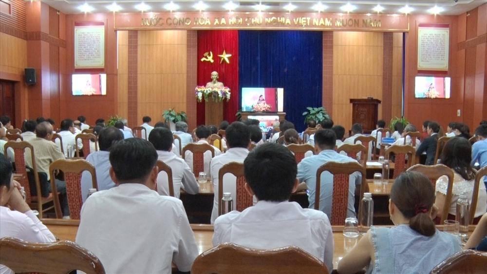 Quang cảnh hội nghị tại điểm cầu Quảng Nam. Ảnh: M.L