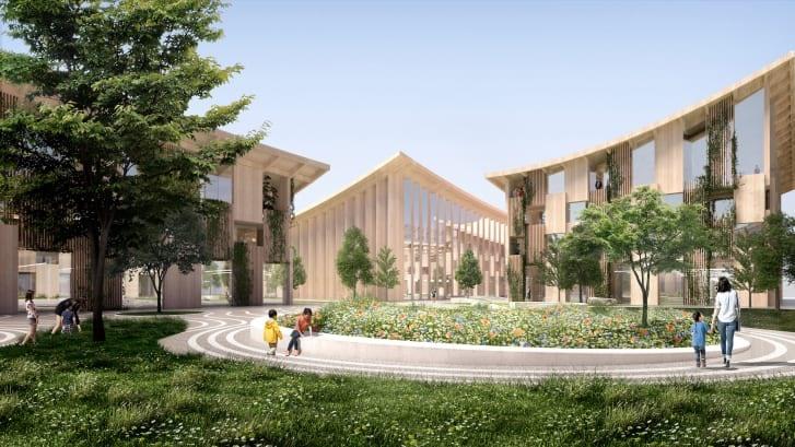 Vật liệu để xây dựng các ngôi nhà tại Woven City chủ yếu từ gỗ. Ảnh: Toyota/Bjarke Ingels Group