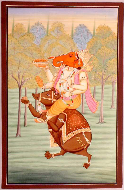 Thần Ganesa du hành cùng chú chuột Mushika là một hình tượng rất phổ biến trong tranh tượng Ấn Độ.