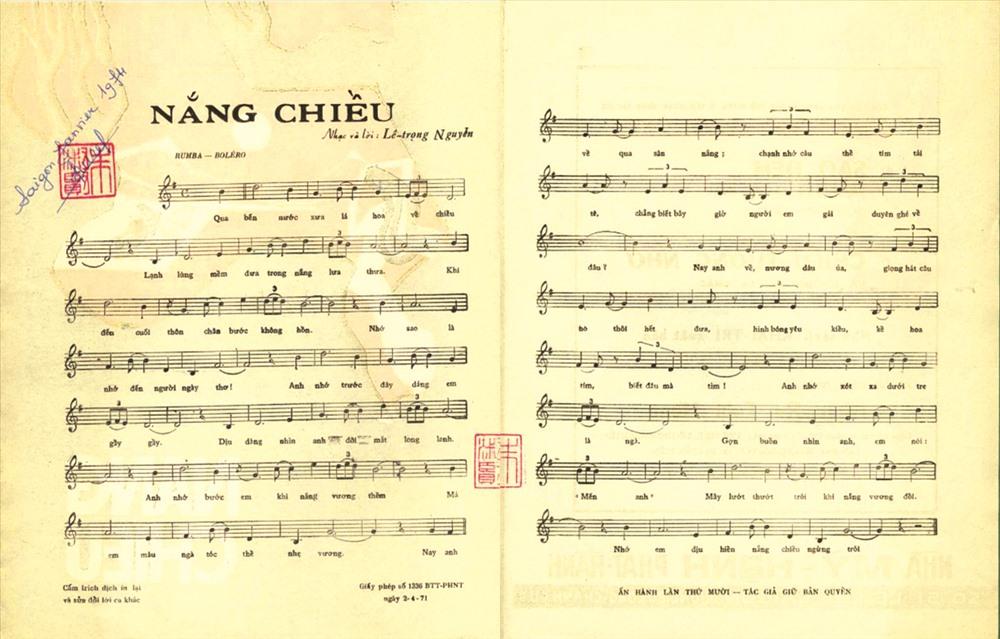 Trang bìa và phổ nhạc của ca khúc Nắng chiều.