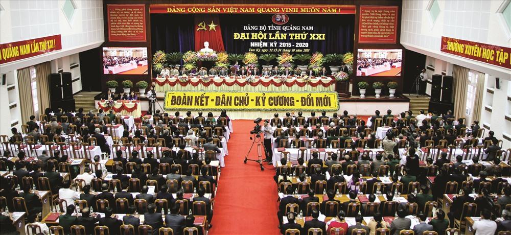 Quang cảnh Đại hội Đảng bộ tỉnh Quảng Nam lần thứ XXI.Ảnh: T.C