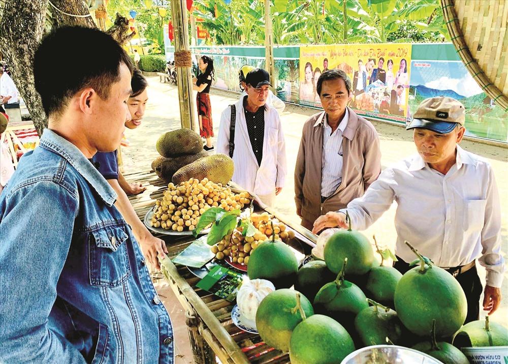 Du khách tham quan, trải nghiệm tại làng du lịch sinh thái Đại Bình (Quế Trung, Nông Sơn) và mua bưởi trụ - sản phẩm được xếp hạng OCOP 3 sao cấp tỉnh năm 2018. Ảnh: TỨ ĐIỀN
