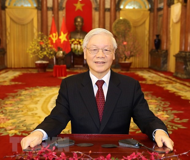 Tổng Bí thư, Chủ tịch nước Nguyễn Phú Trọng đọc Thư chúc Tết. (Ảnh: Trí Dũng/TTXVN)