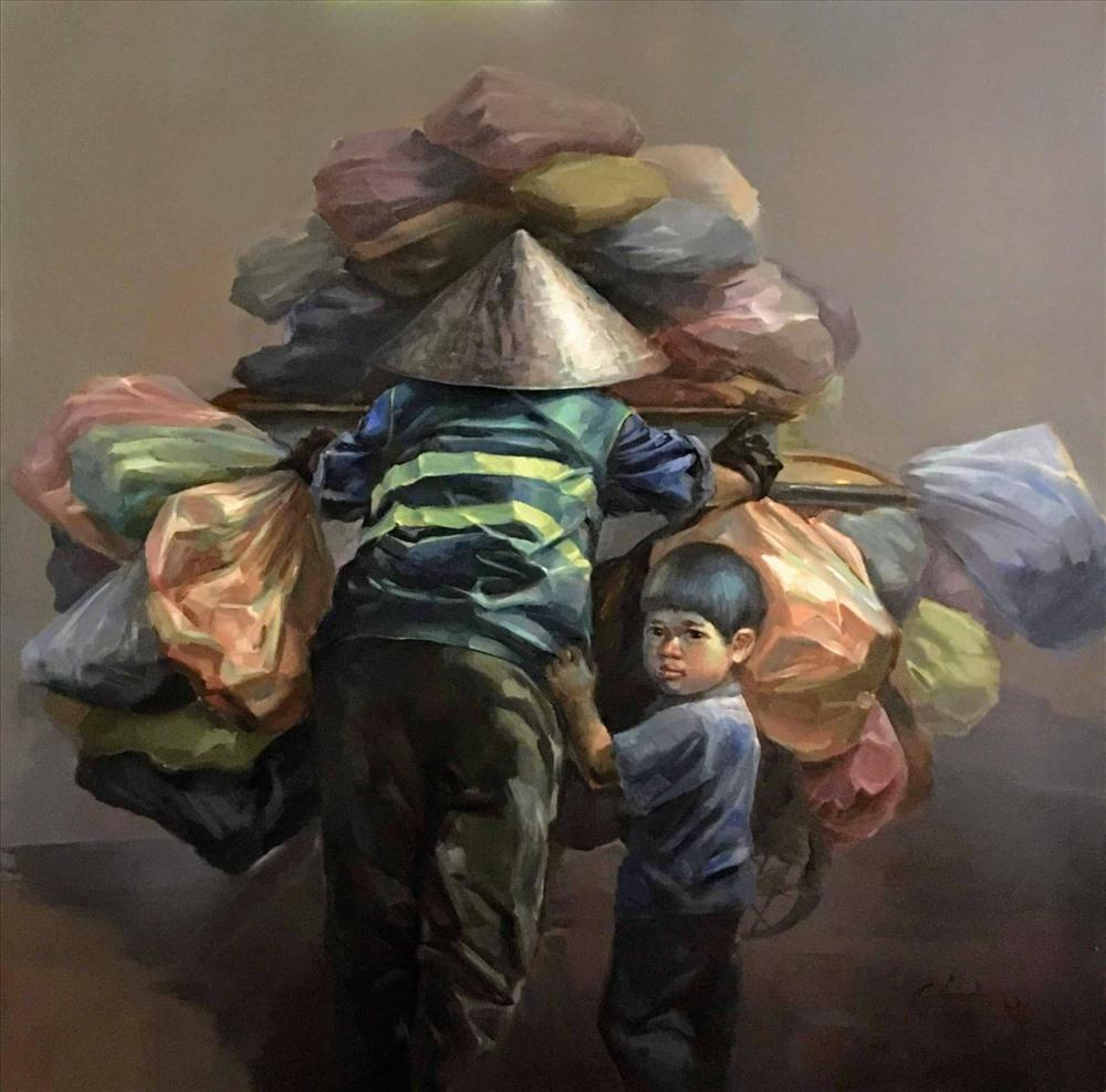 Ngược xuôi - tranh sơn dầu của Hà Châu, giải tác giả trẻ của Liên hiệp các hội VHNT Việt Nam năm 2019. Ảnh: Tác giả cung cấp.