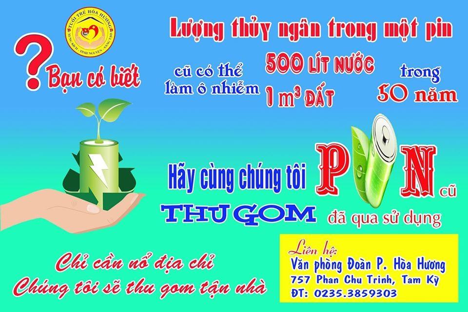Hình ảnh tuyên truyền về chiến dịch thu gom pin đã qua sử dụng của Đoàn phường Hòa Hương (thành phố Tam Kỳ) - Ảnh: THÁI CƯỜNG