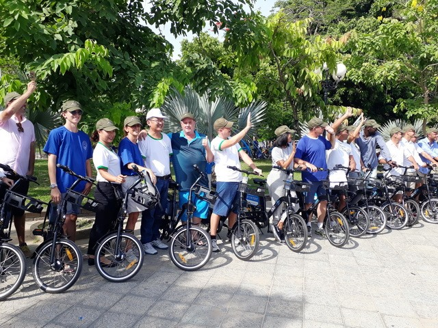 A lot of tourists using bicycle sharing service in Hoi An