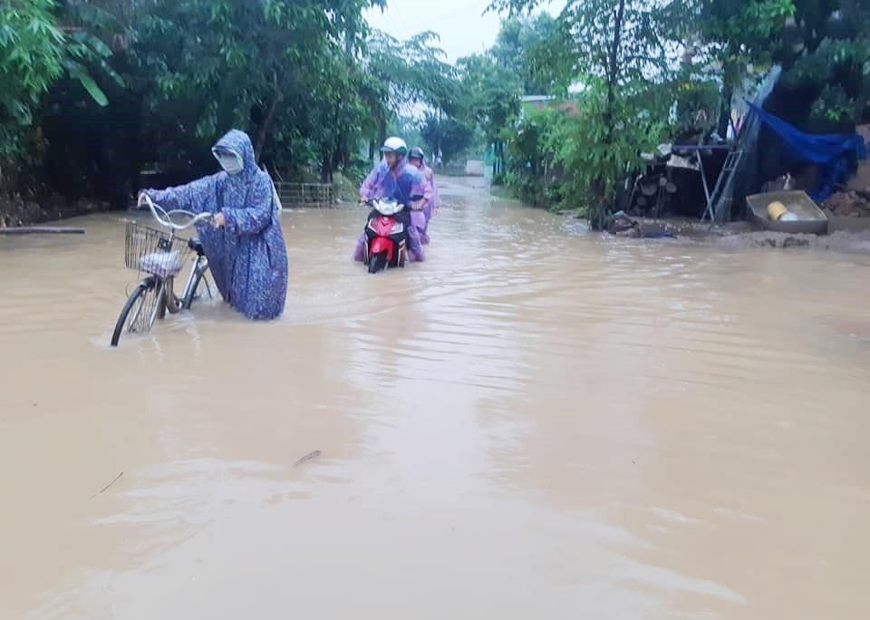 Tại Đại Lộc, nhiều khu vực bị ngập sâu. Ảnh: H.L