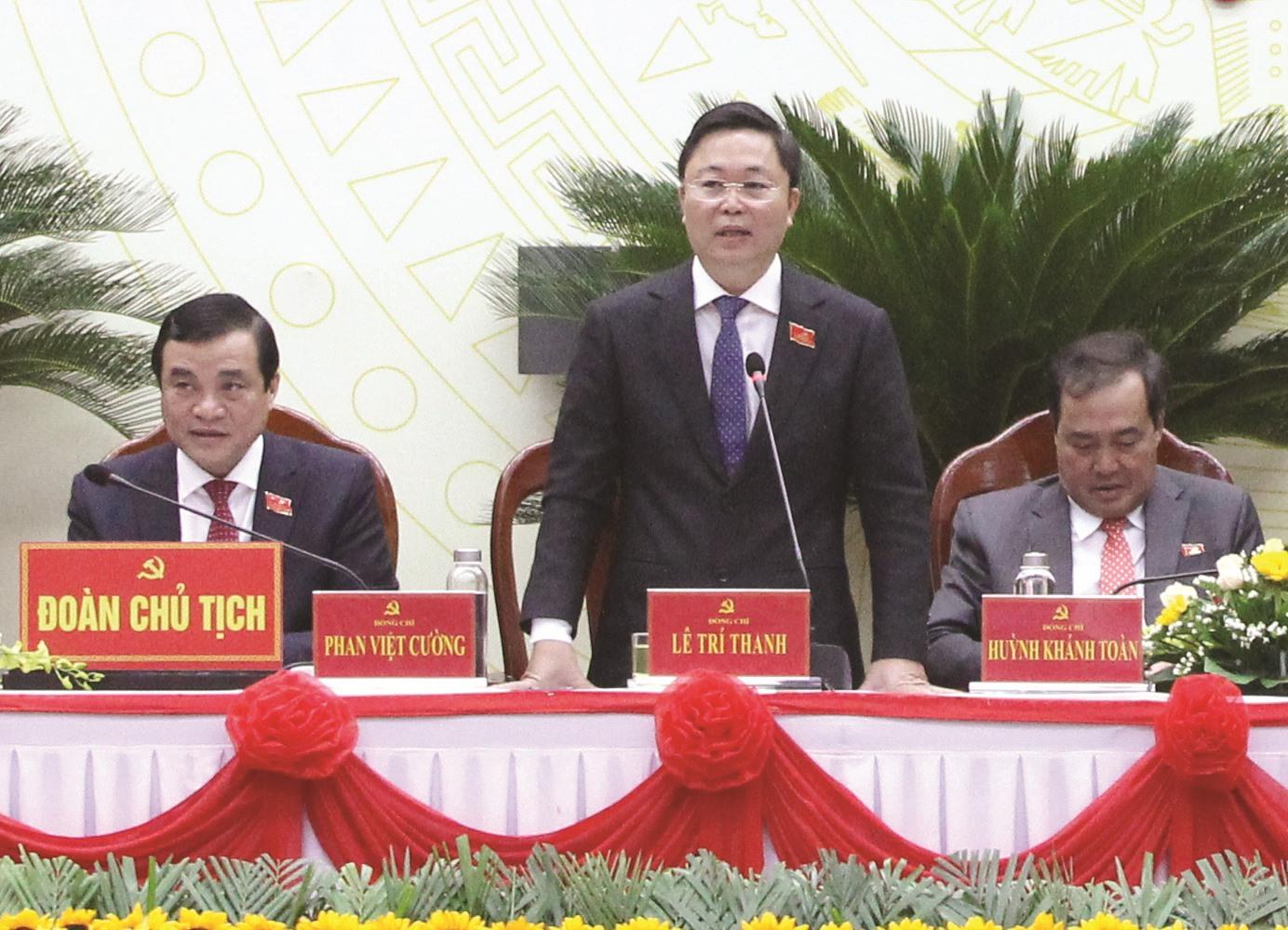 Phó Bí thư Tỉnh ủy, Chủ tịch UBND tỉnh Lê Trí Thanh phát biểu tại Đại hội. Ảnh: T.C