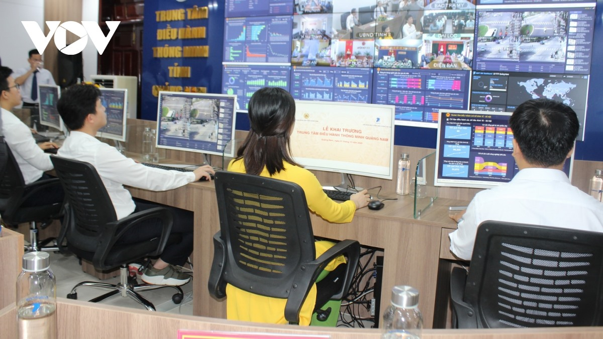 A corner of the Quang Nam Intelligent Operation Center. Photo: VOV