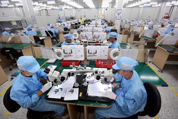 Tại một nhà máy sản xuất linh kiện điện tử ở Việt Nam. Ảnh: TTXVN