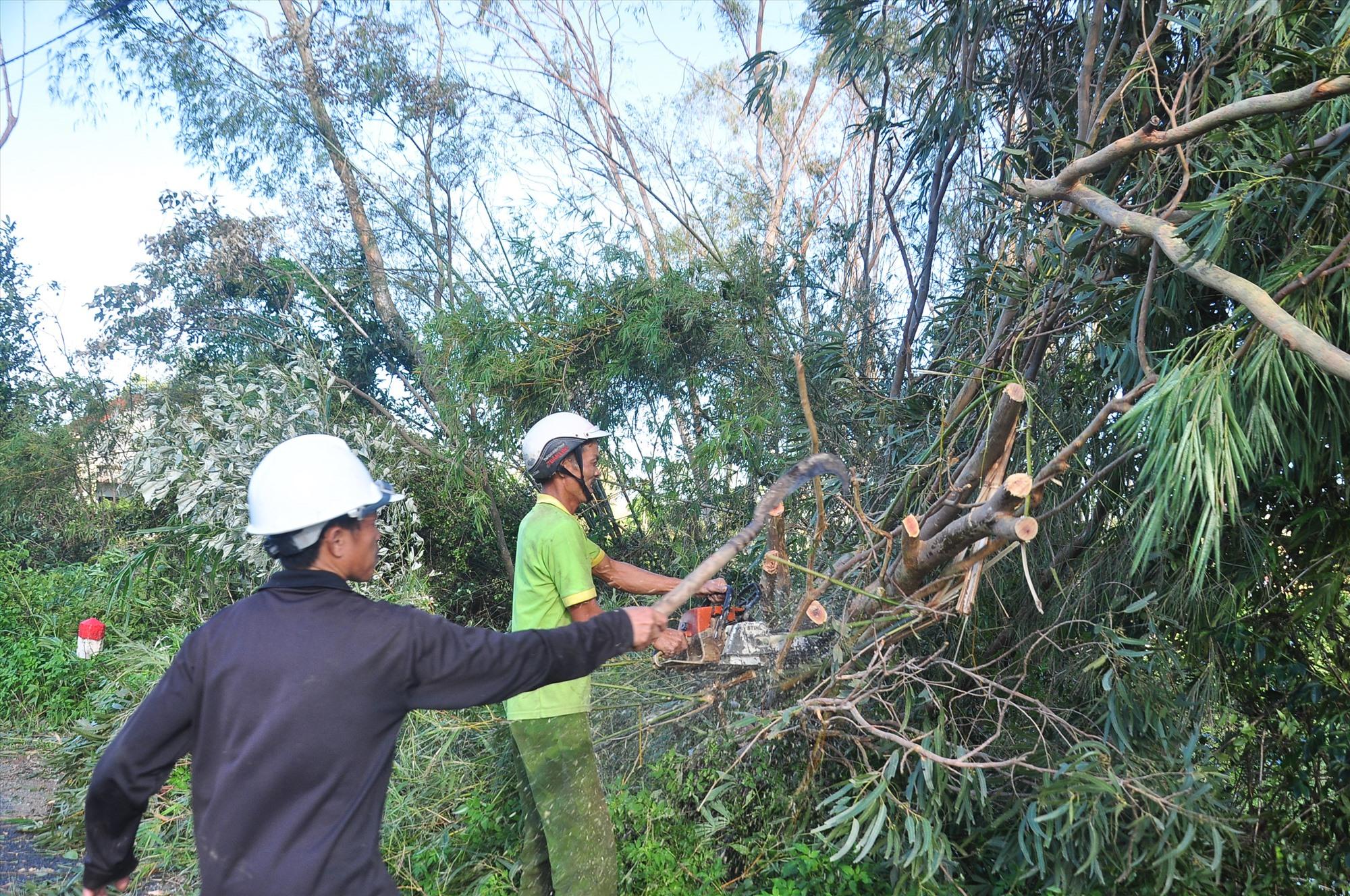 Lực lượng chức năng huyện Phú Ninh đang nỗ lực khắc phục sự cố bão số 9. Ảnh: VINH ANH