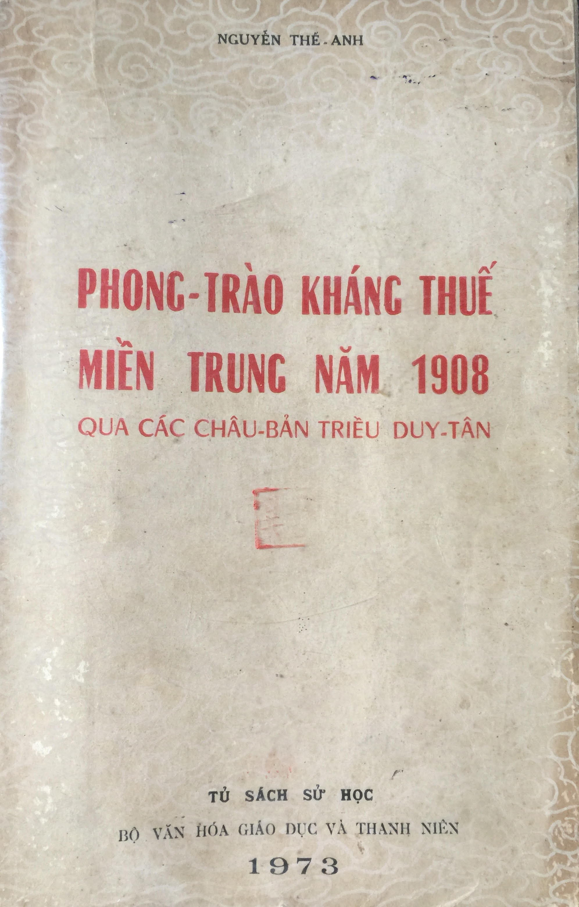 Bìa sách Phong trào kháng thuế miền Trung năm 1908. (Ảnh minh họa)