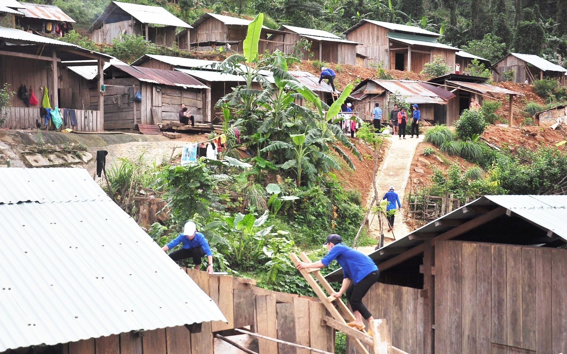 Lực lượng tình nguyện tiến hành sửa chữa lại các ngôi nhà ở làng Tắk Rối bị tốc mái sau cơn bão số 9. Ảnh: VINH ANH