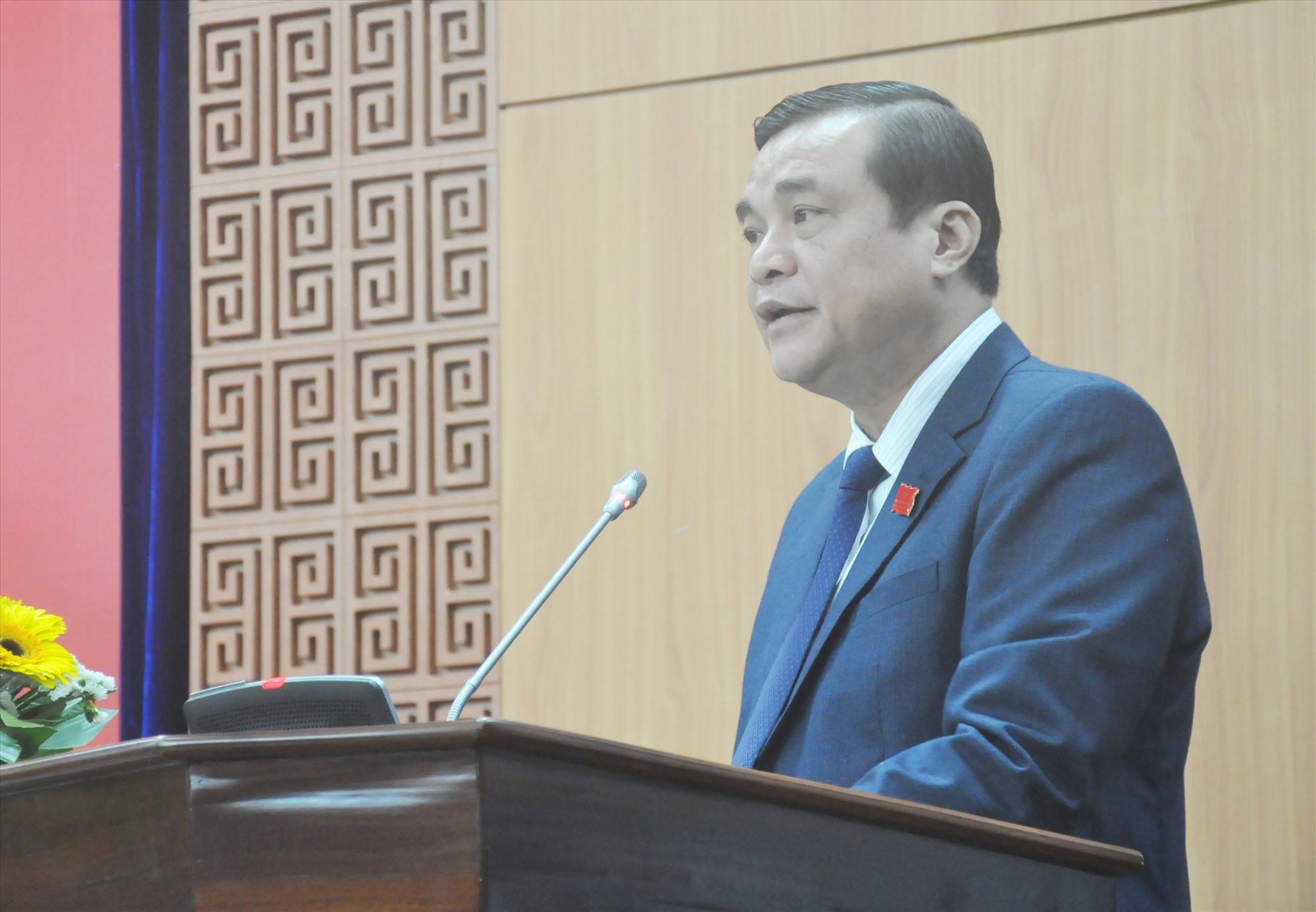 Bí thư Tỉnh ủy, Chủ tịch HĐND tỉnh Phan Việt Cường phát biểu khai mạc Kỳ họp thứ 18. Ảnh: N.Đ