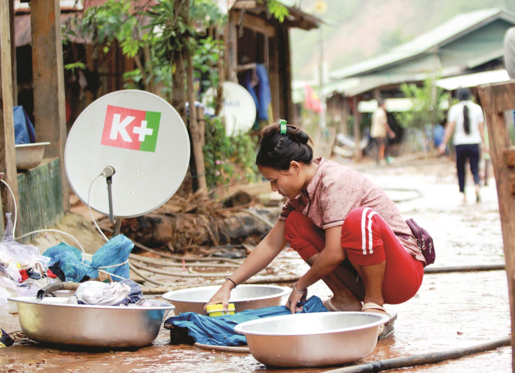 Hơn 100 nhân khẩu làng Triên đã thoát khỏi chuỗi ngày dài phải tá túc tạm tại trường mầm non liên xã Kim Thành Lộc.