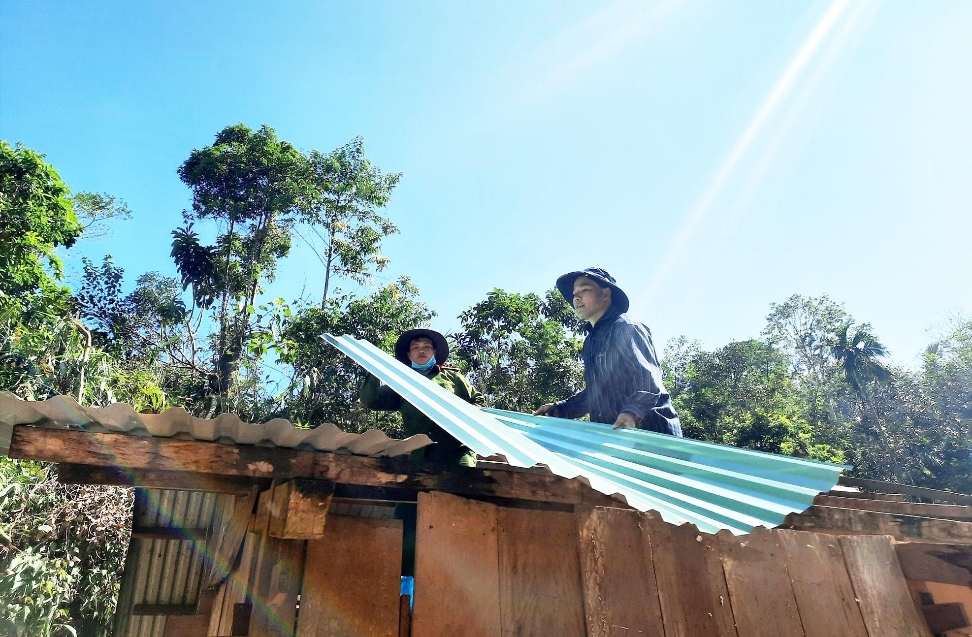 Lợp lại mái nhà cho gia đình ông Trần Ngọc Ấn. Ảnh: HỒ QUÂN