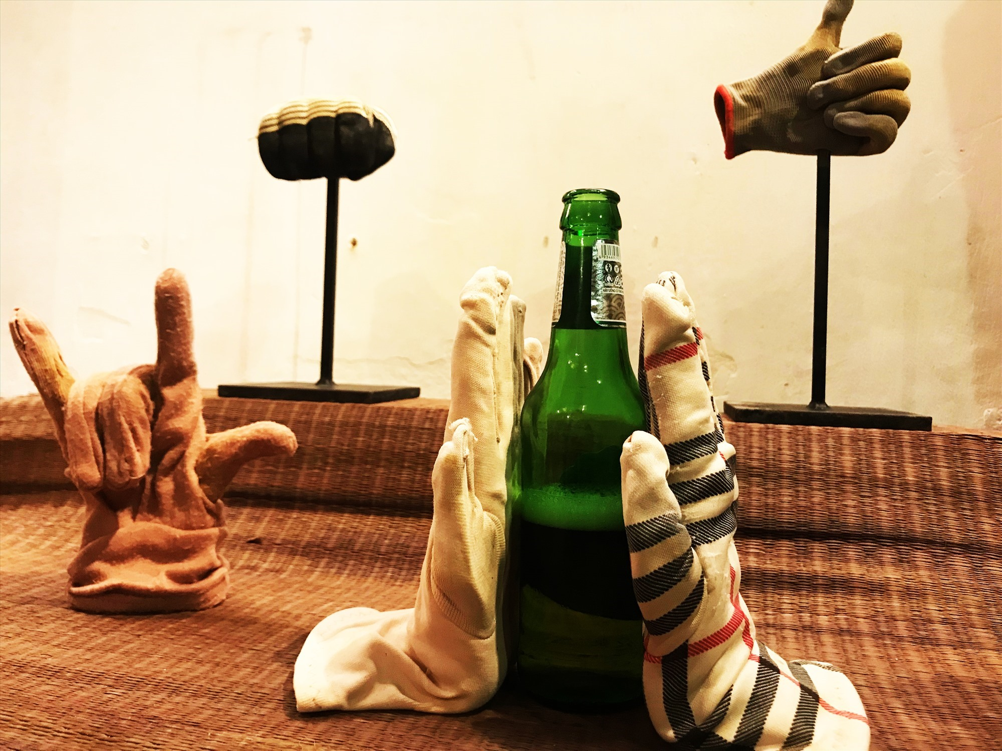 Waste gloves at the exhibition