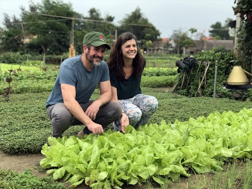 Tourists at an organic vegetable farm in Quang Nam