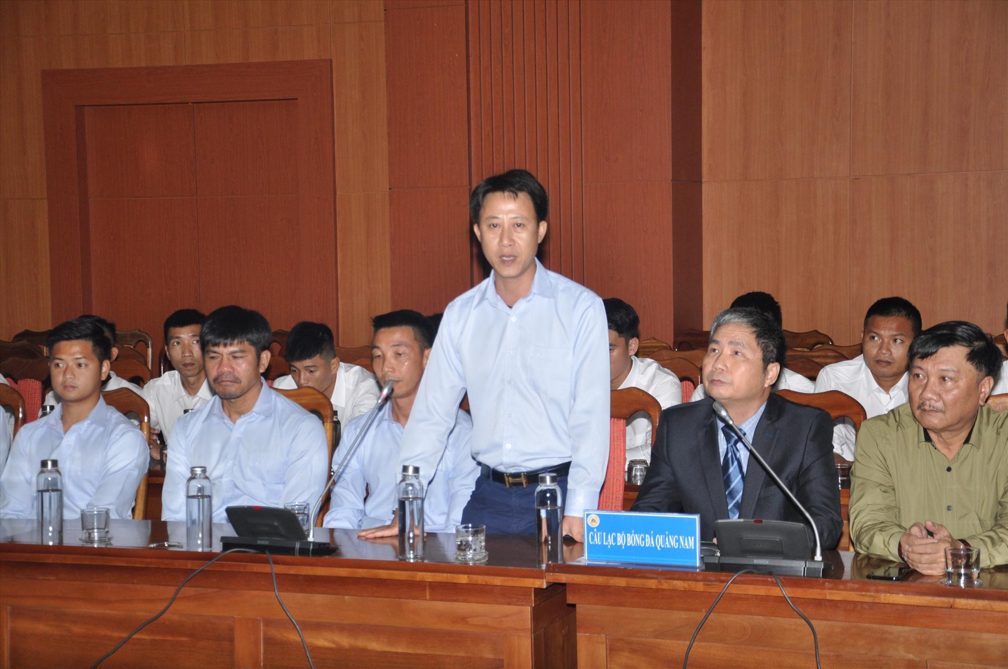 HLV Nguyễn Thành Công khẳng định quyết tâm lên V-League. Ảnh: T.V