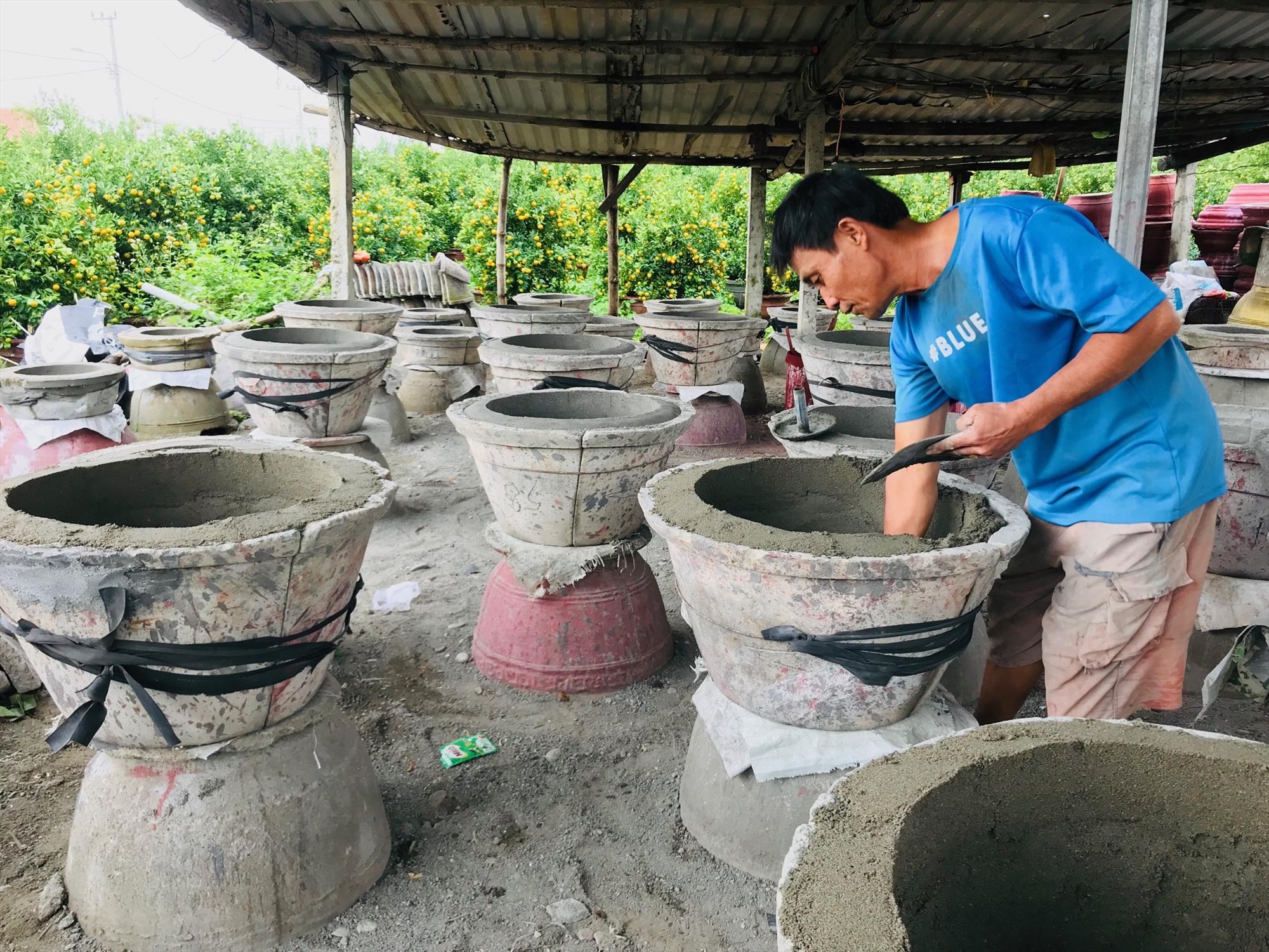 Dự lường được nhu cầu của thị trường suy giảm nên người trồng quật ở Cẩm Hà đã giảm canh tác hơn 10 nghìn chậu nhưng đơn đặt hàng vẫn èo uột. Ảnh: Q.T