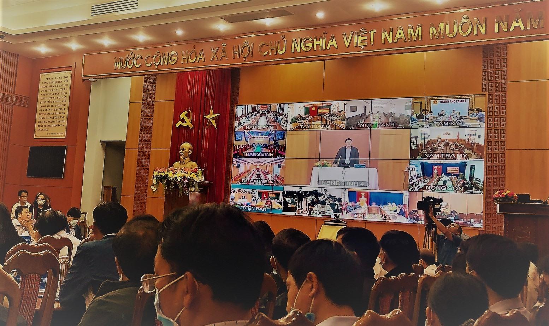 Hội nghị trực tuyến cải cách hành chính toàn tỉnh. Ảnh: H.S