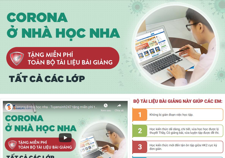 Các website hỗ trợ học online miễn phí được nhiều trường hướng dẫn học sinh đăng ký. Ảnh chụp màn hình
