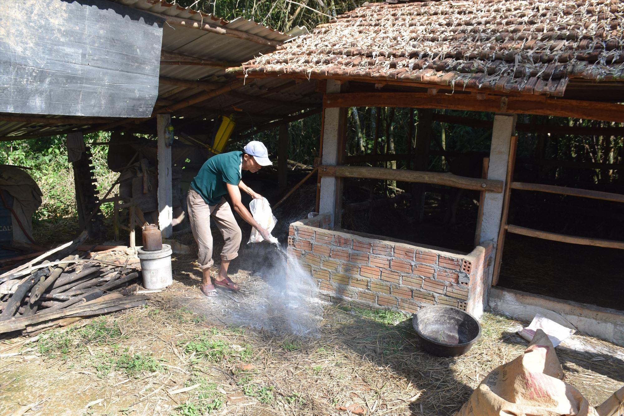 Người chăn nuôi chủ động vệ sinh chuồng trại. Ảnh: L.T