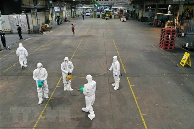 Phun thuốc khử trùng tại một chợ rau củ ở thành phố Daegu, Hàn Quốc nhằm ngăn chặn sự lây lan của dịch COVID-19, ngày 20/2/2020. (Ảnh: AFP/TTXVN)