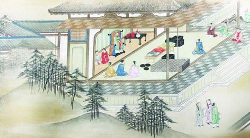 """Thương nhân Nhật Bản yết kiến thế tử của chúa Nguyễn tại Dinh trấn Thanh Chiêm vào thế kỷ 17 (Trích đoạn từ bức tranh """"Shuin-sen Kochi toko zukan""""). Ảnh tư liệu"""